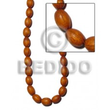 Bayong Wood 12 mm Groove Natural Oval Wood Beads Carved Wood Beads BFJ136WB