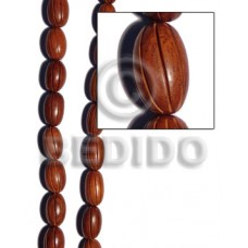 Bayong Wood 17 mm Groove Brown Oval Wood Beads Carved Wood Beads BFJ215WB