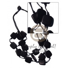 Black Wood Beads Slice Melon Multi Row Wax Cord 20 x 20 mm Wooden Necklaces BFJ1948NK