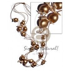 Bronze 36 inches Coconut Beads Wax Cord Graduated Lumbang Kukui Nut Seed Wooden Necklaces BFJ1927NK