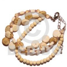 Coconut Beads Bleached White Multi Row Side Drill Acrylic Crystals Coconut Bracelets BFJ484BR
