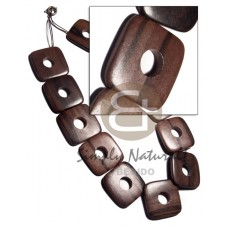 Ebony Tiger Square Kamagong Wood 20 inches 35 mm Waxed Wooden Necklaces BFJ3172NK