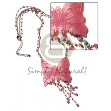 Hammer Shell Butterfly Glass Beads Metal Chain Metal Looping 50 mm Shell Necklace BFJ1378NK