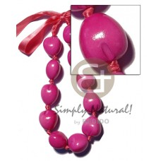 Kukui Nuts Ribbon Pink Painted Lumbang Seed Choker Kukui Lei Necklace BFJ1827NK