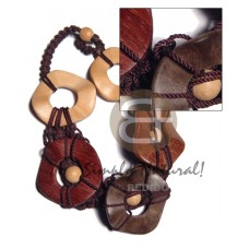 Macrame Wood Beads Wood Tones Wavy round Wooden Necklaces BFJ3406NK