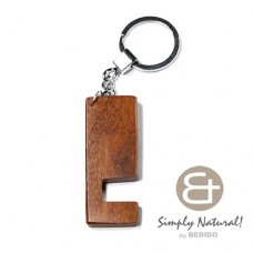 Madre de Cacao Natural 64 mm x 24 mm x 5 mm Hardwood Chrome Keychain IPHONE ANDROID ACCESSORY BFJ087