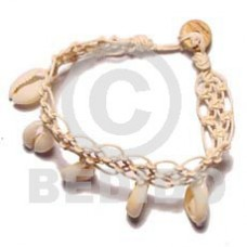 Natural 7.5 inches Sigay Cowry Shell Macrame Sea Shell Bracelets BFJ378BR