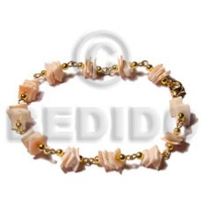 Pink Gold Chain Pink Rose Shell 7.5 inches Square Cut Sea Shell Bracelets BFJ5051BR