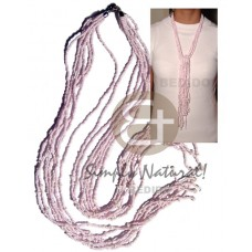 White Shell Glass Beads 36 inches Pink Shell Necklace BFJ1870NK