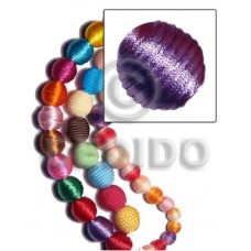 White Wood Lilac 20 mm Round Wrapped Per Piece China Cord Wood Beads - Round Wood Beads BFJ305WB