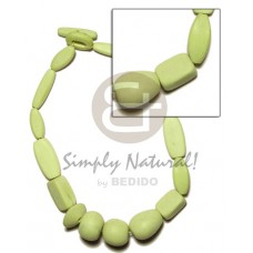 White Wood Lime Green Dyed Wooden Necklaces BFJ1066NK