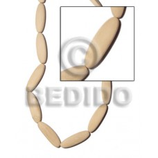 White Wood Natural Football 45 mm 16 inches Wood Beads - Flat Round and Oval Wood Beads BFJ165WB