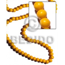 White Wood Round Yellow Beads Strands 10 mm Dyed Wood Beads - Round Wood Beads BFJ282WB