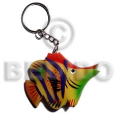 Wood Hand Painted Fish 60 mm Multi-Color Keychain BFJ001KC