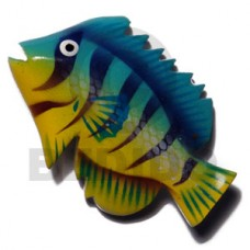 Wood Hand Painted Fish 70 mm Refrigerator Magnets BFJ005RM