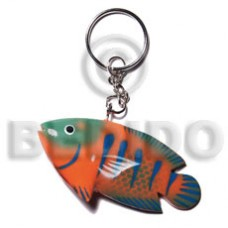 Wood Hand Painted Fish 73 mm Multi-Color Keychain BFJ003KC