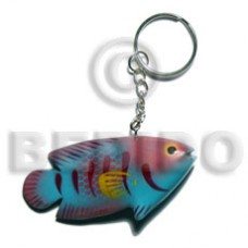 Wood Hand Painted Fish 73 mm Multi-Color Keychain BFJ012KC