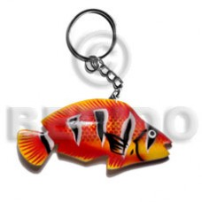 Wood Hand Painted Fish 90 mm Multi-Color Keychain BFJ004KC