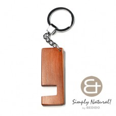 Wood Stained Brown Coated 64 mm x 24 mm x 5 mm Chrome Keychain IPHONE ANDROID ACCESSORY BFJ077KC