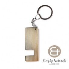 Wood Stained Gray Coated 64 mm x 24 mm x 5 mm Chrome Keychain IPHONE ANDROID ACCESSORY BFJ079KC