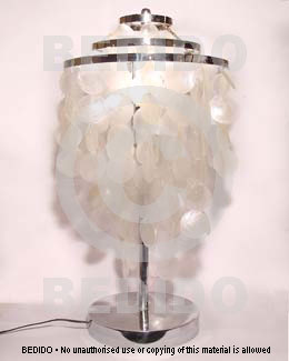 Capiz Shell Chandeliers Dangling Natural Capiz Shell Silver Table Lamp (  Tall )