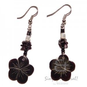 Black Tab Flower Earrings