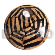 75 mm Brown Dried Leaves Wood Laminated Round Pendants - Wooden Pendants BFJ6347P