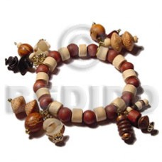 Assorted Wood Beads Brown Wood Bracelets BFJ5052BR