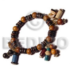 Assorted Wood Beads Brown Wood Bracelets BFJ5054BR