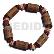 Bamboo White Rose Coconut Pokalet Elastic Red Black Yellow 7-8 mm Wood Bracelets BFJ5281BR