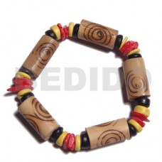 Bamboo White Rose Yellow Black Elastic 7-8 mm Tube Red Wood Bracelets BFJ5282BR