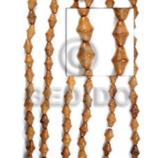 Bayong Wood Double Cones 15 mm Brown Beads Strands Wood Beads - Saucer and Diamond Wood Beads BFJ052