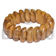 Bayong Wood Elastic Coated Brown Bangles - Wooden Bangles BFJ061BL