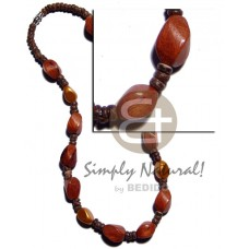 Bayong Wood Twist Resin Gold Coconut 4-5 mm 10 mm Wooden Necklaces BFJ2262NK