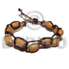Black Beige Leather Macrame adjustable Wood Bracelets BFJ5407BR