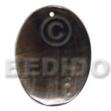 Black Lip Shell 40 mm Oval Black Pendants - Simple Cuts BFJ6208P