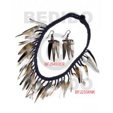 Black Lip Shell Macrame thread Black Set Jewelry Earrings Necklace Set Jewelry BFJ010SJ