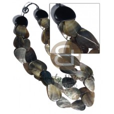 Black Lip Shell Multi Row Teardrop Shell Necklace BFJ3107NK