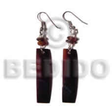 Black Tab Shell Bar Dangling Horn Black Shell Earrings BFJ5031ER