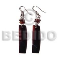 Black Tab Shell Bar Dangling Horn Black Shell Earrings BFJ5031ER