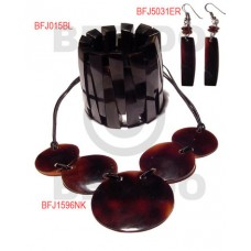 Black Tab Shell Leather Thong Black Set Jewelry 18 in necklace Bangles Earrings Set Jewelry BFJ106SJ