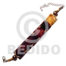 Black Tab Shell Weave Wax Cord 20 mm Black Sea Shell Bracelets BFJ494BR