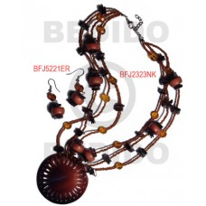 Black Tab Shell Wood Beads Glass Beads Black Brown Set Jewelry Earrings Necklace Set Jewelry BFJ003SJ