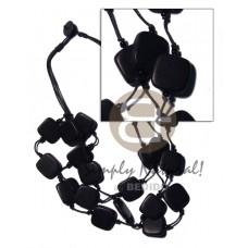 Black Wood Beads Slice Melon Multi Row Wax Cord 20 x 20 mm Wooden Necklaces BFJ1948NK