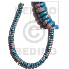 Blue 16 inches Coconut 7-8 mm Pokalet Painted Coco Splashing Beads BFJ024SPL
