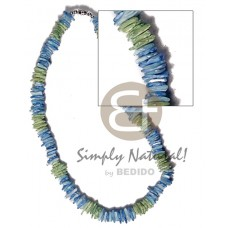 Blue White Rose Puka Shell Square Cut Glass Beads Green Puka Shell Necklace BFJ3736NK