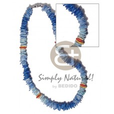 Blue White Rose Puka Shell Square Cut Glass Beads Puka Shell Necklace BFJ3732NK
