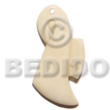 Bone 45 mm Natural White Art Lady Pendants - Bone Horn Pendants BFJ5608P