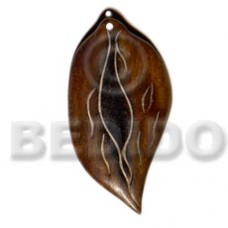 Bone Antique Leaf 35 mm Pendants - Bone Horn Pendants BFJ5616P