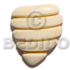 Bone Beehive 40 mm Natural White Pendants - Bone Horn Pendants BFJ5603P
